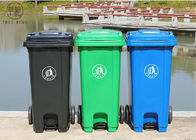 HDPE Foot Plastic Rubbish Bins , Coloured Rubbish Bins With Pedal Operated Lid 120L